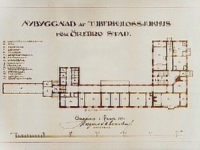 Ritning, nybyggnad av tuberkulossjukhuset i Örebro. Arkitekt Magnus Dahlander, Örebro.