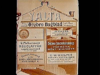 Reklam: målade husväggar. Arkitekt Edvin Stenfors, Järntorgsgatan 7, Örebro.