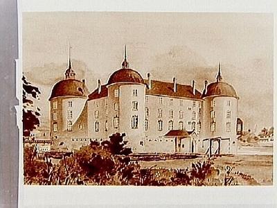 Målning av Örebro Slott, 1627. Målningen är perspektiviskt konstruerad och utförd av arkitekt Elis Werner.