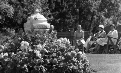 Loka brunn 2 22 juli 1966  Fyra äldre damer och en äldre herre sitter utomhus på bänkar och stolar i kurorten Loka brunn. I förgrunden syns blommor och en stor jättelik kruka.