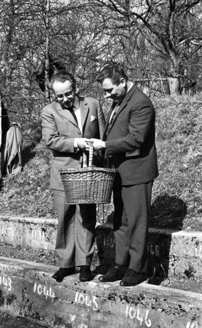 Gnesta-Kalle 17 maj 1967  Dragspelsmusikern Gnesta-Kalle i mörkrandig kostym, vit skjorta och ljusrandig slips står bredvid radiomannen Carl-Uno Sjöblom klädd i ljus kostym, vit skjorta och svart slips. De håller gemensamt i en korg och befinner sig nära Riseberga klosterruin vid amfiteatern.