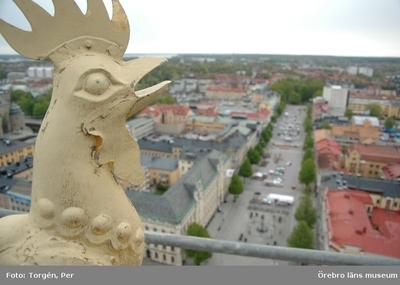 Bilder tagna under renoveringen av tornet på Nikolaikyrkan 2005. Utsikt från Nikolaikyrkans torn, tuppen på kyrkans torn.