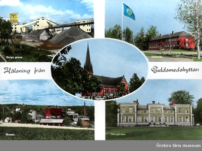 Vykort med motiv från Guldsmedshyttan: Stripa gruva, Kontoret, Bruket, Herrgården, Kyrkan. (Text: Hälsning från Guldsmedshyttan)
