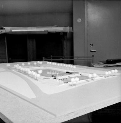 Modell för bandy- och ishockeyplan. Stadsarkitektkontoret.