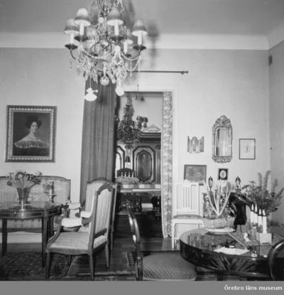 Salongen i läkarvillan på Järnvägsgatan 19, Örebro. Huset ägdes av doktor Ragnar Melander (född 1895). I huset bodde också hustrun Elsa Melander (född 1897) och sonen Mats (född 1933). Familjen ägde huset från 1940 till 1974. Rullgardinerna finns i ÖLM:s föremålssamlingar, Inv.nr: 39071_1-3 Rullgardinernas motiv: 1-Örebro slott (tejpad på v. kanten), 2-Konserthuset, 3-Arbetshuset. På alla tre rullgardiner står målarens namn: Truls. Dnr: 2010.310.175