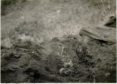 Bronsåldersgrav under framgrävning. Undersökt av H. Svensson, oktober 1931 och av fynden daterad till bronsålderns 4:e period. (var?)