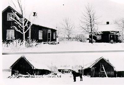 Drygstorp (Drystorp), Gudhem, slutet av 1920-talet. Mannen vid hästen heter Gustav Karlsson. Damen vid lillstugan är Karin Andersson, sedermera Gustav Karlssons fru. Mangårdsbygggnaden revs 1936 och nybyggdes 1937, ladugårdarna som var med halmtak revs omkring 1970 men lillstugan finns kvar.