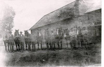 Arbetarna med några av gårdens hästar. Enligt uppgift hade gården 10 par hästar. Från vänster: Rättaren Erik