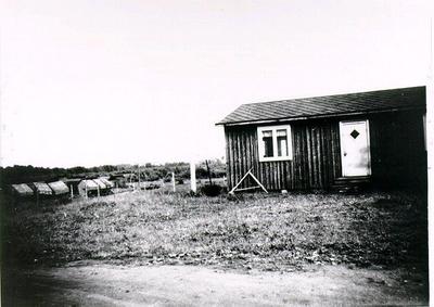 Risholmens torvindustri. Kontorsbarack som sattes upp under krigsåren.