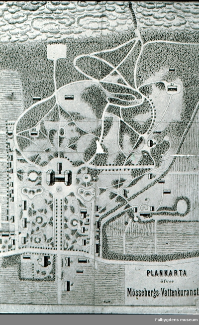 Mössebergs sanatorium. Mössebergs kurort, plankarta.