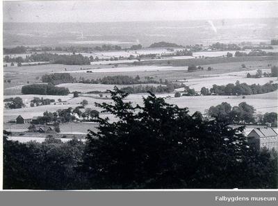 Längst ned till vänster: Erik Jonssons gård, alias Mellomgården Dotorp, norr om Brogärdet, tidigare i Friggeråker socken. Gården längst ned till höger, inbäddad i grönskan, är Brogärdet, Dotorp, tidigare Mellomgården, Dotorp. I stadens ägo sedan omkring 1948.