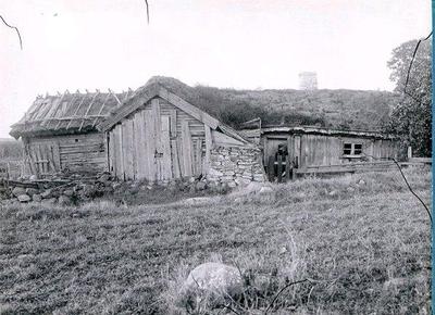Gumman Mellbins stuga. Vinkelladugård och stuga sammanbyggda.