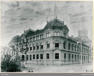 Gamla Telegraf- och posthuset i korsningen Kyrkogatan-Bankgatan taget från Vängåvan. Byggnaden uppfördes 1893 och revs i slutet av 1950-talet.