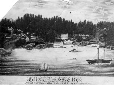 Gustafsberg. Aftagit från Lillön efter naturen af Ervig V. Wernqvist. 1841.