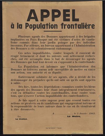 Appel à la population frontalière