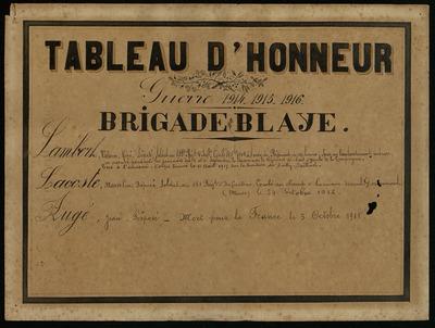 Tableau d'honneur Brigade de Blaye