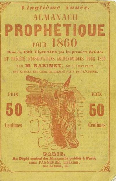 Almanach prophétique, pittoresque et utile pour 1860 publié par un neveu de Nostradamus / précédés d'observations astronomiques pour 1860 par m. Babinet et illustré par Mm. Gavarni [et al.] ...