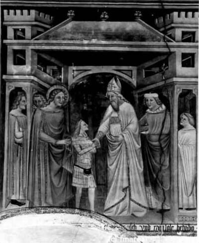 Hl. Johannes Evangelist empfiehlt einem Bischof den bekehrten Jüngling