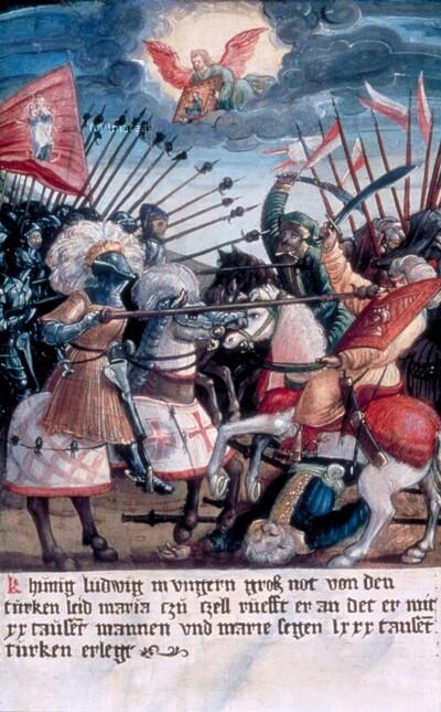 Sieg König Ludwigs von Ungarn gegen die Türken mit Hilfe Mariens