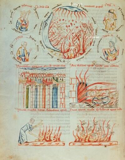 Flammen schlagen aus dem Feuerofen und vernichten die Chaldäer