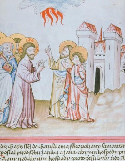 Christus weist Hl. Johannes Evangelist und Hl. Jakobus maior zurecht