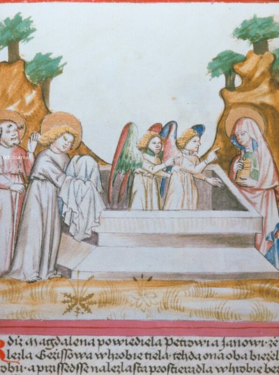 Hl. Maria Magdalena, Hl. Petrus und Hl. Johannes Evangelist am Grab Christi