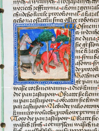 Erste Vision des Propheten Sacharja vom Reiter auf einem roten Pferd