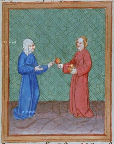 Rahel lässt Lea um einen Apfel bei Jakob schlafen