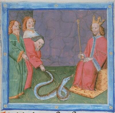 Aaron führt das Wunder des Stabes vor, der sich in eine Schlange verwandelt