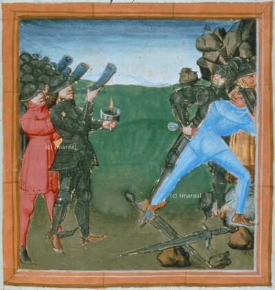 Gideons Männer blasen das Widderhorn zum Kampf gegen die Midianiter