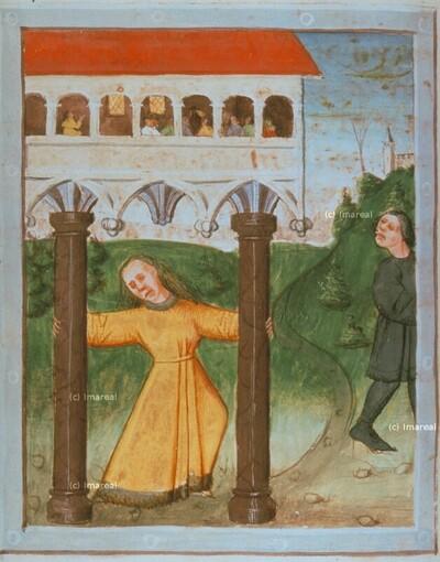 Simson reißt die Säulen des Tempels nieder