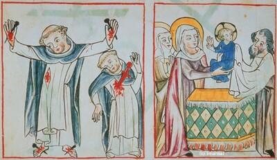 Vision des Dominikaners von den Schmerzen Christi und der Hl. Maria