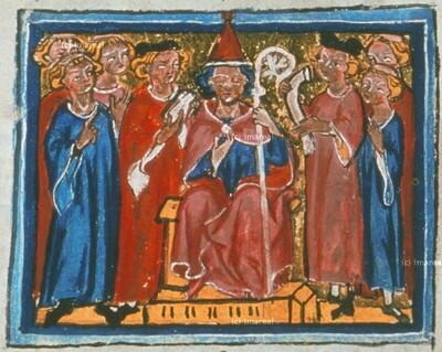 Bischof mit Rechtsgelehrten
