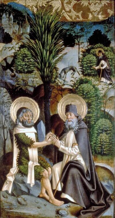 Wölfin weist dem Hl. Antonius den Weg zum Hl. Paulus von Theben