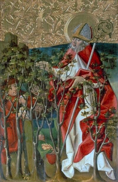 Hl. Nikolaus befiehlt den Dieben die Rückgabe des gestohlenen Geldes
