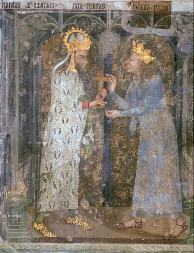 Karl IV. erhält vom Dauphin Karl von Frankreich zwei Dornen aus der Dornenkrone Christi und eine Kreuzreliquie