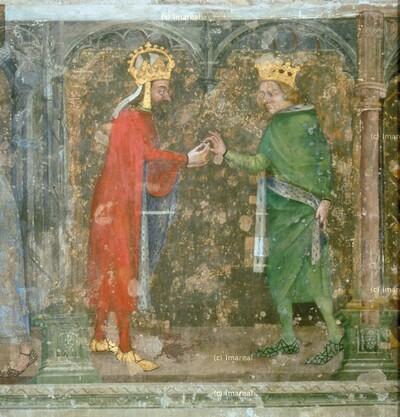 Karl IV. erhält vom König von Jerusalem, Griechenland und Zypern eine Christusreliquie