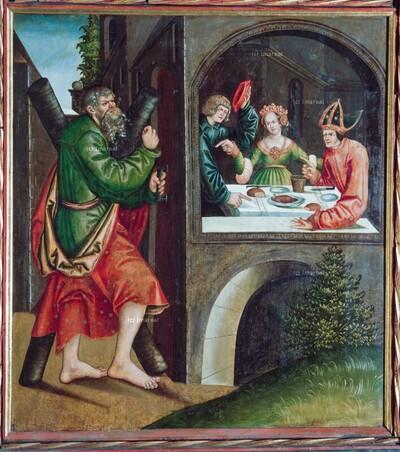 Hl. Andreas warnt einen Bischof, den eine Frau als Dämon in Versuchung führt