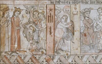 König Dacian lässt den Hl. Georg mit den Keulen schlagen
