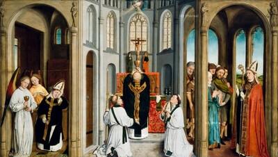 Engel erscheinen dem Hl. Ulrich im Traum und forden ihn auf, die Messe zu lesen