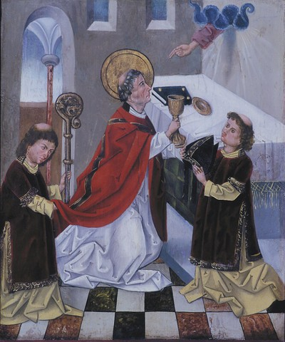 Dem Hl. Ulrich erscheint während der Messfeier die Hand Gottes