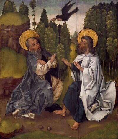 Hl. Antonius und der Hl. Paulus von Theben werden von einem Raben gespeist