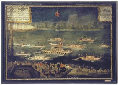 Freiherr Hans Ludwig von Kuefstein verlässt 1628 Wien als kaiserlicher Botschafter, um auf der Donau nach Konstantinopel zu reisen