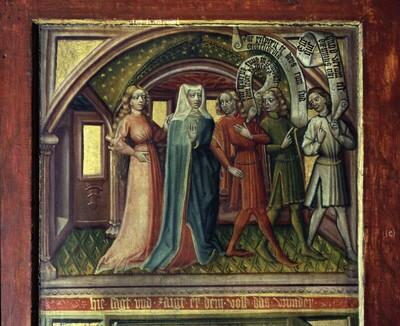 Vincentia und Innocentia gehen mit den Boten zur Kirche