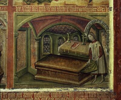 Knabe zieht das Gewand des Hl. Severus aus dem Grab