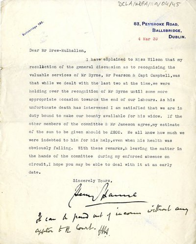 Letter from Henry [Harnne] to Mr Brew–Mulhallen