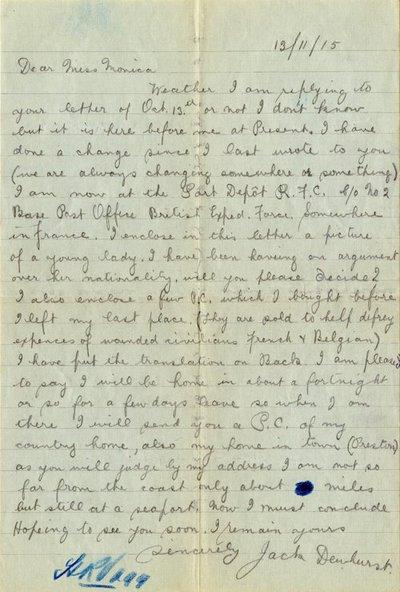 Letter DCLA/RDFA1.05.036 from Jack Dewhurst