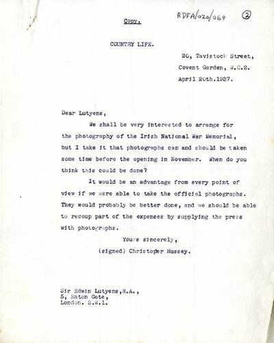 Letter [original] from E.J. Webb, on behalf of Sir Edwin Lutyens to [Miss H.G. Wilson], Secretary, Irish National War Memorial.