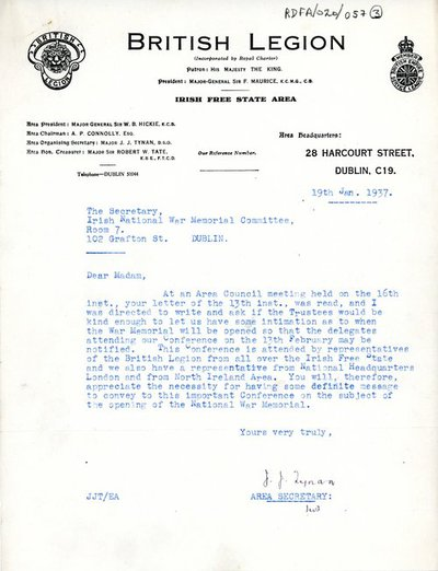 Correspondence between Major J.J. Tynan, Area Secretary, British Legion in Ireland and [Miss H.G. Wilson], Secretary, Irish National War Memorial Committee.