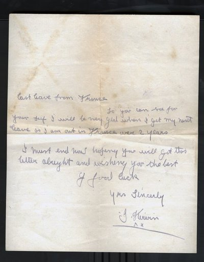 Letter from Private J. Kirwan to Monica Roberts